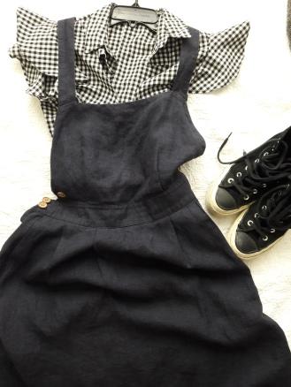 Gingham shirt and Mango linen dress