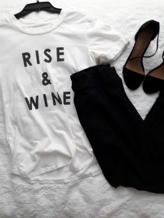 White tee and black peg pants
