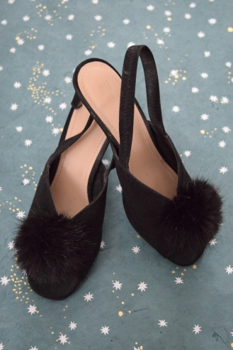Open Toe slingbacks with Faux Fur Poof